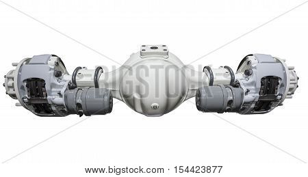 Heavy duty truck rear axle with brakes isolated over white background