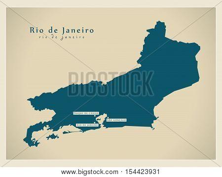 Modern Map - Rio de Janeiro BR Brazil illustration vector
