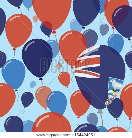 Falkland Islands (malvinas) National Day Flat Seamless Pattern. Flying Celebration Balloons In Color