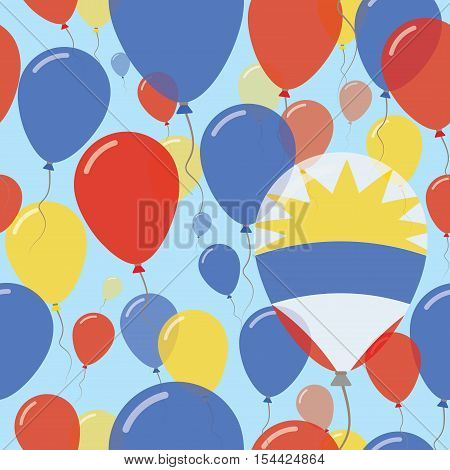 Antigua And Barbuda National Day Flat Seamless Pattern. Flying Celebration Balloons In Colors Of Ant