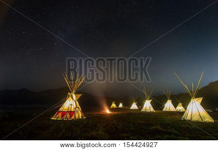 teepee night and star on the sky