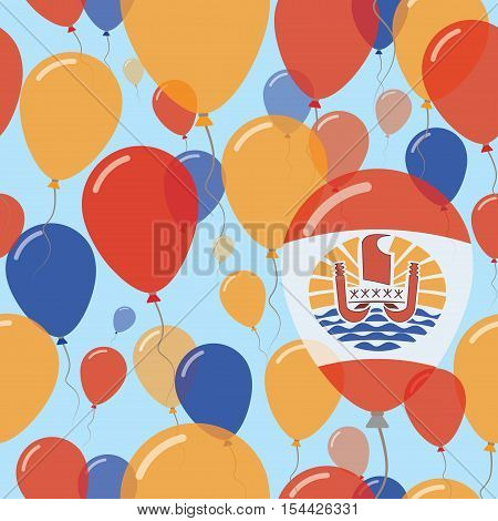 French Polynesia National Day Flat Seamless Pattern. Flying Celebration Balloons In Colors Of French