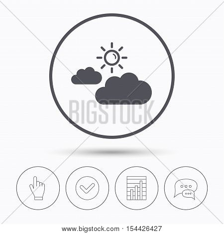 Cloud with sun icon. Sunny weather symbol. Chat speech bubbles. Check tick, report chart and hand click. Linear icons. Vector