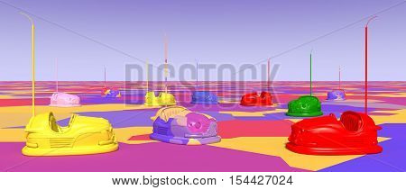 Computer generated 3D illustration with bumper cars