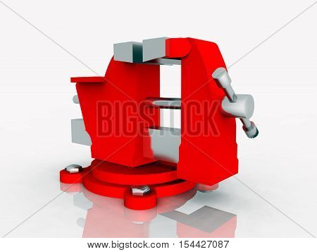 Computer generated 3D illustration with a red vise against a white background