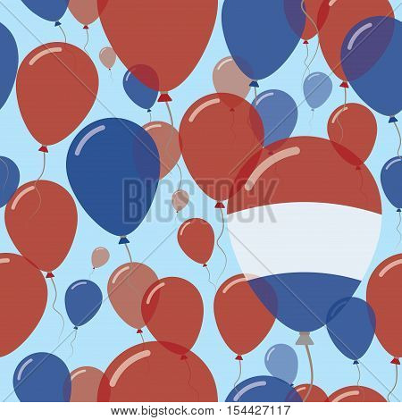Netherlands National Day Flat Seamless Pattern. Flying Celebration Balloons In Colors Of Dutch Flag.