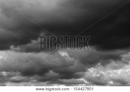 Thunderclouds over horizon storm. Dark cloudy sky background.