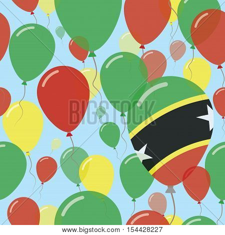 Saint Kitts And Nevis National Day Flat Seamless Pattern. Flying Celebration Balloons In Colors Of K