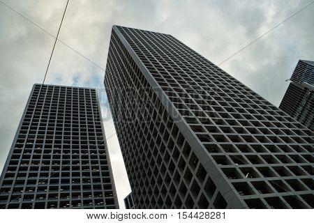 HONG KONG - October 2016: Skyscrapers at Central. Bottom view.