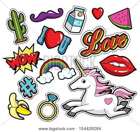 Fashion patch badges with lips, hearts, rainbow and other elements. Vector illustration isolated on white background. Set of stickers, pins, patches in cartoon 80s-90s comic style.