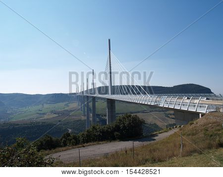 Millau viaduct Monday September 26th 2016: Millau Viaduct in Aveyron Department which spans the Tarn River, France.