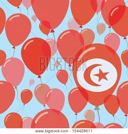 Tunisia National Day Flat Seamless Pattern. Flying Celebration Balloons In Colors Of Tunisian Flag.