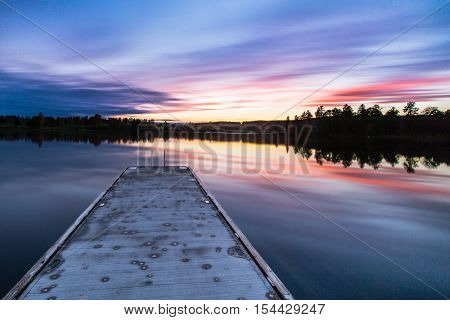Peaceful Sunset over Bogstadvannet, a lake in Oslo, Norway Picture was taken 25th of October 2016.