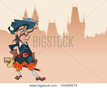cartoon funny character puzzled soldier musketeer  Gothic building in the background