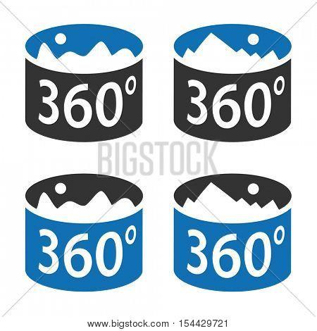 angle 360 degrees panorama view symbol vector