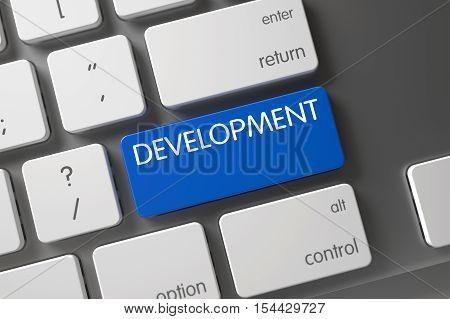 Development Concept: Modern Laptop Keyboard with Development, Selected Focus on Blue Enter Keypad. 3D Render.