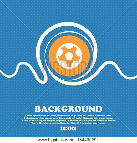 Football, Soccerball Icon Sign. Blue And White Abstract Background Flecked With Space For Text And Y