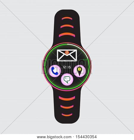Smart watch new message icon. Smart watch isolated logo. Smart watch new mail sign. Vector smart watch illustration. New message notification smart watch.