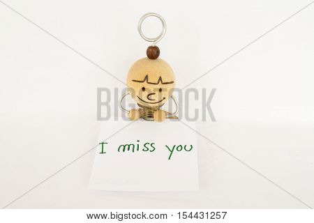 i miss you feeling message card and doll wood handmade