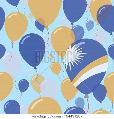 Marshall Islands National Day Flat Seamless Pattern. Flying Celebration Balloons In Colors Of Marsha