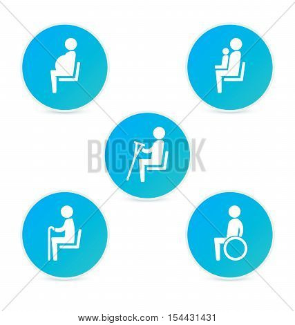 Disabilities and seniors, cripple, pregnant, mom or mother with child area sign set. Priority seating for customers, special place icons. Vector illustration flat style