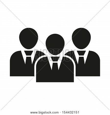 The management icon. Team and group, teamwork, people, alliance symbol. UI. Web. Logo. Sign. Flat design. App. Stock vector
