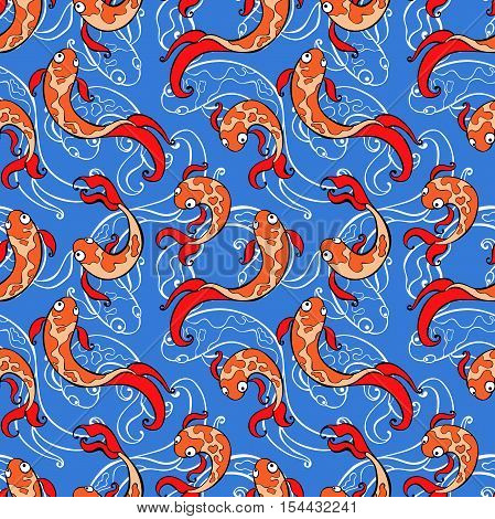 Fish. Goldfish print. Seamless vector pattern (background).