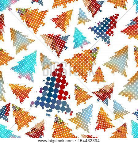 Set Of Christmas Color Tree Decoration Small Circle Dots Seamless Pattern Eps10