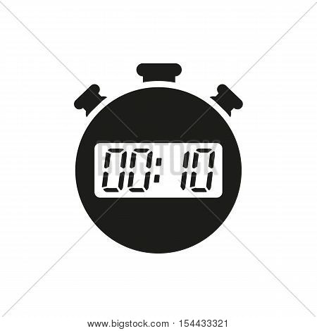 The 10 seconds, minutes stopwatch icon. Clock and watch, timer, countdown symbol. UI. Web. Logo. Sign. Flat design. App. Stock vector