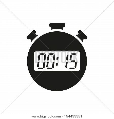 The 15 seconds, minutes stopwatch icon. Clock and watch, timer, countdown symbol. UI. Web. Logo. Sign. Flat design. App. Stock vector