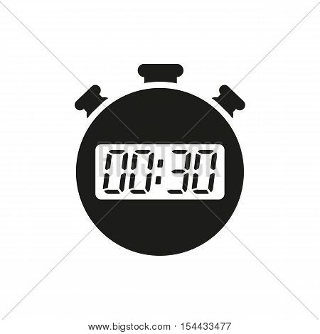 The 30 seconds, minutes stopwatch icon. Clock and watch, timer, countdown symbol. UI. Web. Logo. Sign. Flat design. App. Stock vector