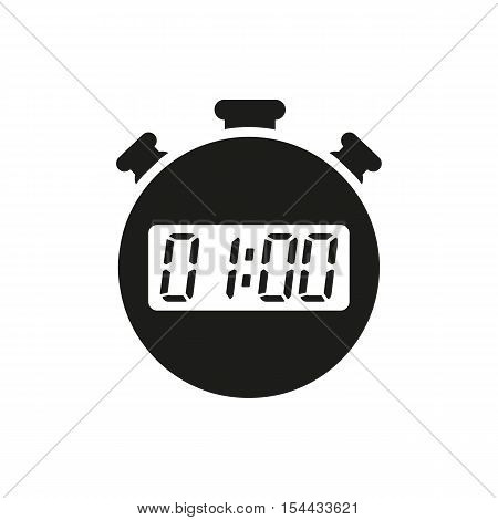 The 60 seconds, minutes stopwatch icon. Clock and watch, timer, countdown symbol. UI. Web. Logo. Sign. Flat design. App. Stock vector