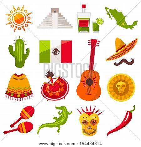 Mexico icons set. Sun, Moai pyramid, tequila, Mexico map, flag, cactus, guitar, peyote, sombrero, moustache, poncho, dancing girl, coin, bean, chili pepper, crocodile, maracas. Vector
