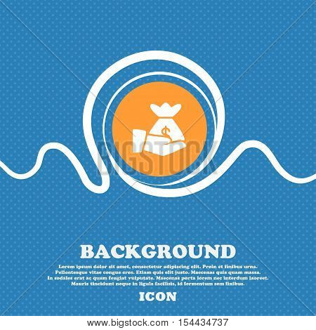 Money In Hand Icon Sign. Blue And White Abstract Background Flecked With Space For Text And Your Des