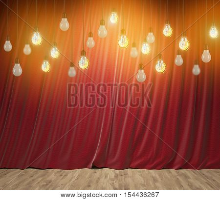 Many light bulbs are hanging from theatre ceiling. Red curtains are in the background. Mock up.