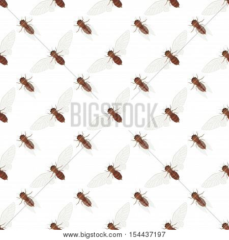 Cicada icons seamless vector pattern. Simple Insect background. Can be used for design web textile and wrapping