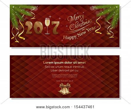 New Year 2017. Merry Christmas and a Happy New Year. Vector christmassy backgrounds with fir branches, ribbons, bows and jingle bells. Christmas greeting card