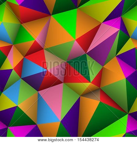 Colorful triangle seamless low-poly background. Abstract triangle colorful texture. Low poly pattern vector illustration.