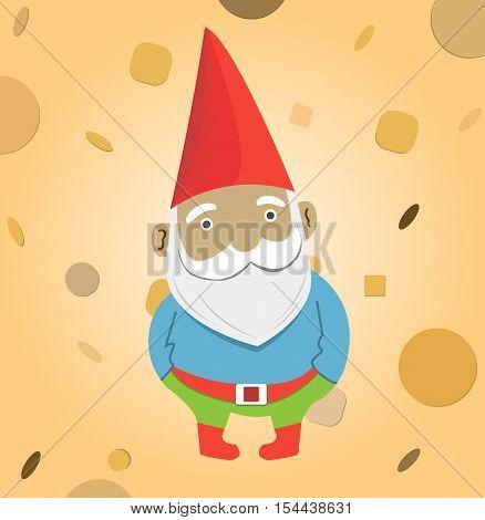 A male garden gnome vector illustration for design