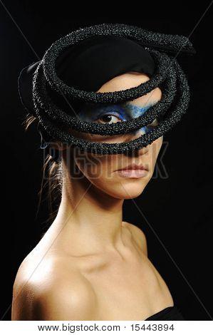 Very pretty woman with dark  scarf, fashion stylish model