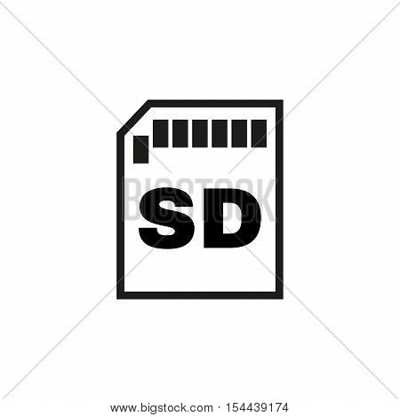 The sd card icon. Transfer and connection, data symbol. UI. Web. Logo. Sign. Flat design. App. Stock vector