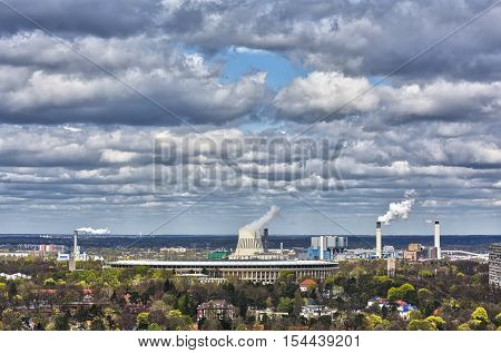 Hdr Shot Of Berlin Skyline With Power Plant
