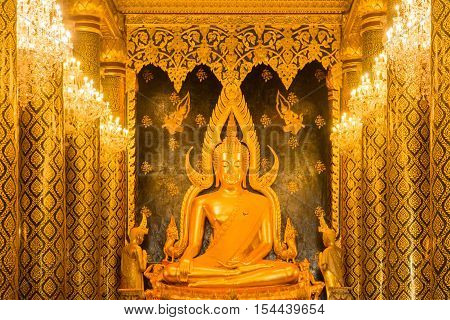 Public place Buddha statue at Wat Phra Sri Rattana Mahathat temple (Wat Yai) call name's Phra Buddha Chinnarat. The most important monastery of Phitsanulok Thailand. The famous Phra Buddha Chinnarat.