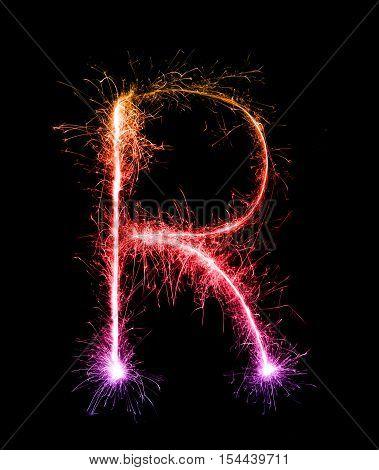 Sparkler Firework Light Alphabet R (capital Letters) At Night