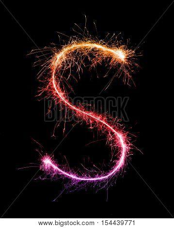 Sparkler Firework Light Alphabet S At Night