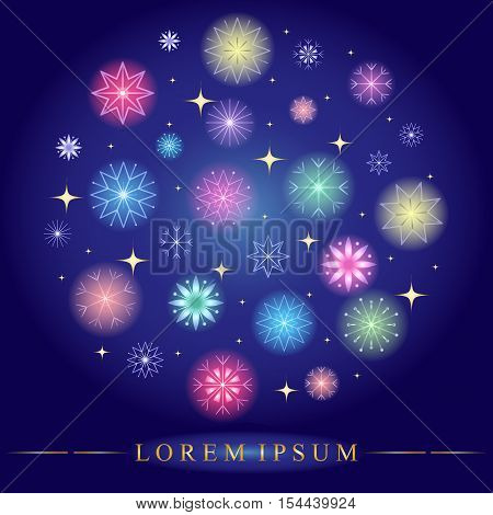 Set of Various Colorful Snowflakes Arranged in Circle. Golden Shimmering Stars and Snowflakes on Blue Background. Perfect for Christmas and New Year Design. Vector Illustration.