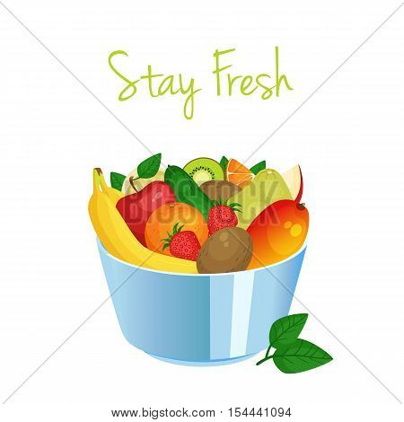 Bowl Of Cartoon Fresh  Fruit And Berries.  Apple Banana Mango Strawberry Kiwi Avocado Pomelo Orange