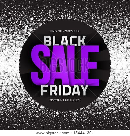 Black friday sale bright vector background. Illustration for business, marketing, promotion and holiday. White shimmer glowing round falling particles. Scatter light shine snow blizzard