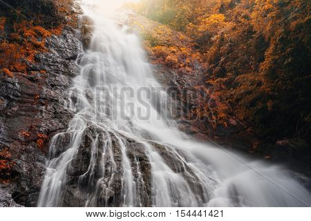 Amazing Beautiful Waterfalls In Autumn Forest At Sarika Waterfall In Nakhonnayok, Thailand.