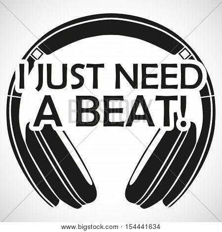 """Headphones Logo Icon """"i Need A Beat"""" I"""